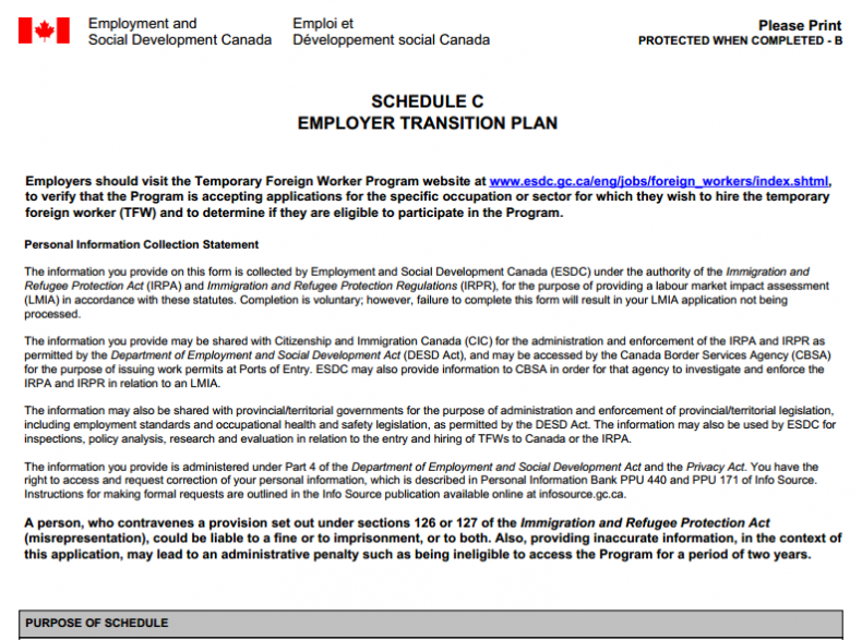 Service Canada Transition Plans