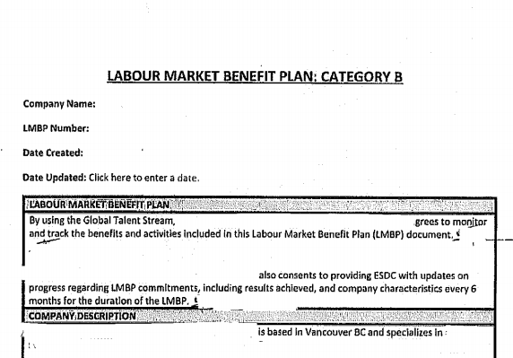 Sample Labour Market Benefit Plan – Steven Meurrens